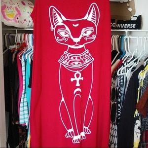Vintage Dresses - Large Egyptian Cat Maxi Dress Ankh